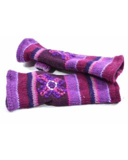 Rukavice-návleky, fialové, výšivka, podšívka