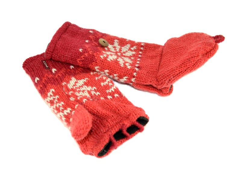Rukavice, palčáky bez prstů, vzor vločka, vlna, podšívka, červené