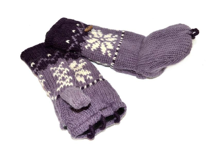 Rukavice, palčáky bez prstů, vzor vločka, vlna, podšívka, fialové