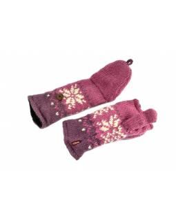 Rukavice, palčáky bez prstů, vzor vločka, vlna, podšívka, růžové