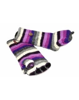Rukavice, palčáky bez prstů, vlna, pruhy fialovo-šedo-růžové
