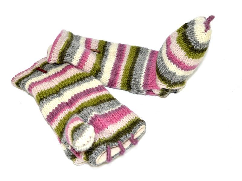Rukavice, palčáky bez prstů, vlna, pruhy růžovo-šedo-zelené