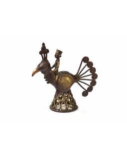 Kovová soška jezdce na pávu, antik patina, 20x20cm
