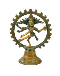 Kovová soška, tančící Šiva, antik patina, 10x13cm