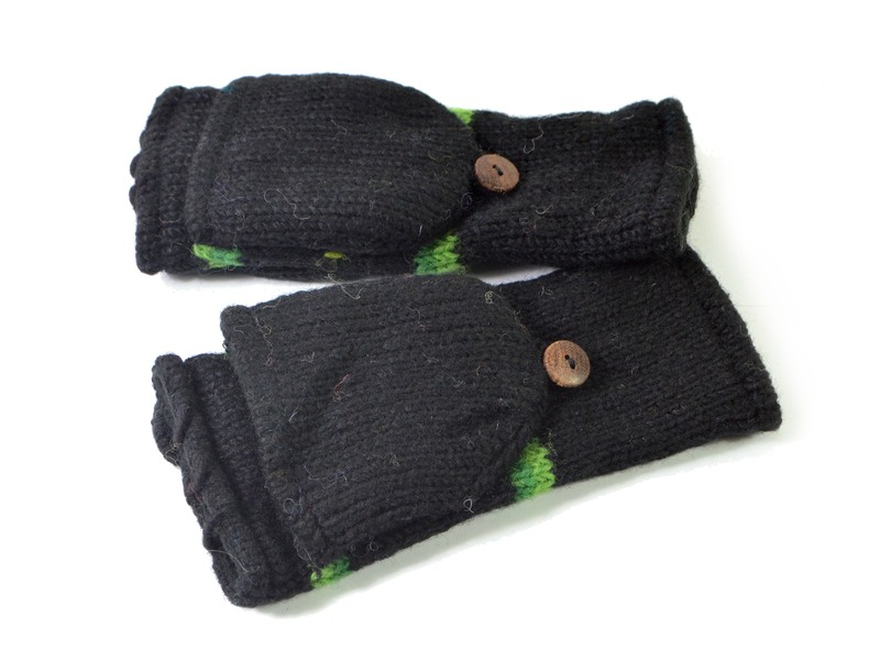 """Rukavice, palčáky bez prstů, """"Green Diamond"""", vlna, podšívka"""