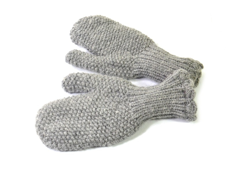 Rukavice-palčáky, unisex, světle šedé