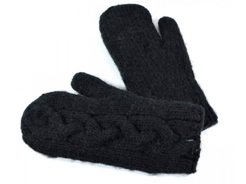 Rukavice-palčáky, dámské, černé, proplétaný design, podšívka