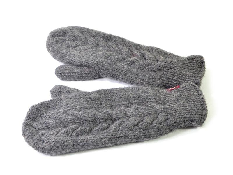 Rukavice-palčáky, šedé( nat.14), merino vlna