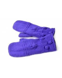 Rukavice, palčáky, fialové, vlna, podšívka