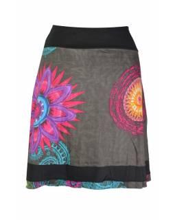 """Krátká šedá sukně """"Rosy"""" s barevnými mandalami"""