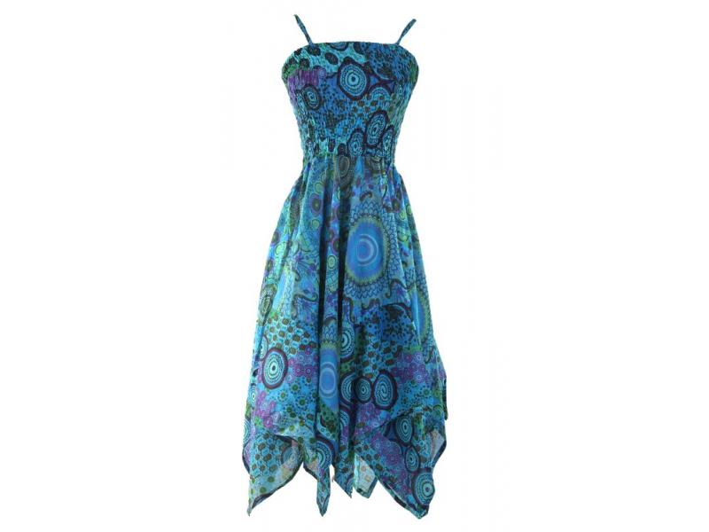 Dlouhé tyrkysové šaty s cípy na ramínka, květinový potisk, žabičkování