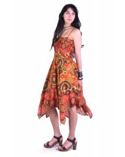 Dlouhé oranžové šaty s cípy na ramínka, květinový potisk, žabičkování