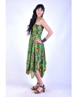 Dlouhé zelené šaty s cípy na ramínka, květinový potisk, žabičkování