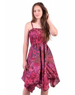 Dlouhé růžové šaty s cípy na ramínka, květinový potisk, žabičkování