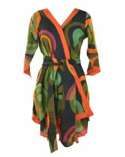 """Oranžovo-zelená tunika s tříčtvrtečním rukávem, potisk """"Disco design"""", pásek"""
