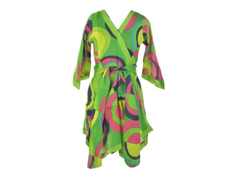 """Zelená tunika s tříčtvrtečním rukávem, potisk """"Disco design"""", zavazovací pásek"""