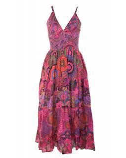 Dlouhé růžové šaty na ramínka, květinový potisk, žabičkování, V výstřih