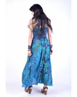 Dlouhé modré šaty na ramínka, květinový potisk, žabičkování