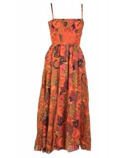 Dlouhé oranžové šaty na ramínka, květinový potisk, žabičkování