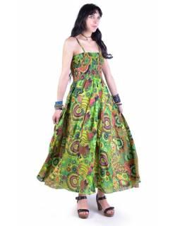 Dlouhé zelené šaty na ramínka, květinový potisk, žabičkování