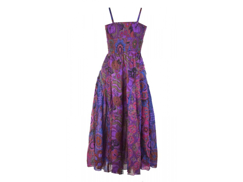 Dlouhé fialové šaty na ramínka, květinový potisk, žabičkování