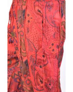"""Červené balonové kalhoty s potiskem, """"Patchwork design"""", elastický pas"""