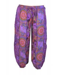 """Fialové balonové kalhoty s potiskem, """"Patchwork design"""", elastický pas"""