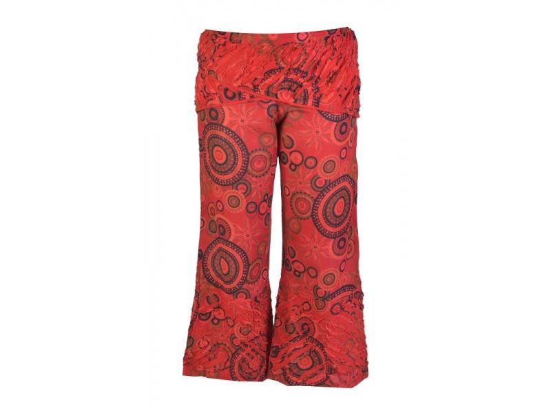 """Červené zvonové kalhoty s potiskem, """"Patchwork design"""", elastický pas"""