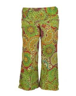 """Zelené zvonové kalhoty s potiskem, """"Patchwork design"""", elastický pas"""