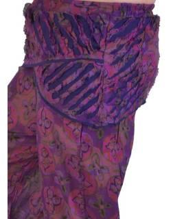 """Fialové zvonové kalhoty s potiskem, """"Patchwork design"""", elastický pas"""