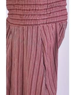 Pruhované turecké kalhoty, červeno-šedé, žabičkování