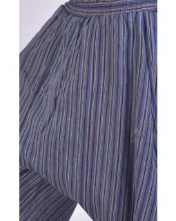 Pruhované turecké kalhoty, modro-šedé, žabičkování