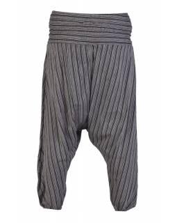Pruhované turecké kalhoty, černo-šedé, žabičkování