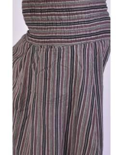 Pruhované turecké kalhoty, hnědo-černo-šedé, žabičkování