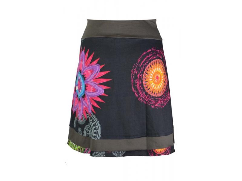 """Krátká černá sukně """"Rosy"""" s barevnými mandalami"""