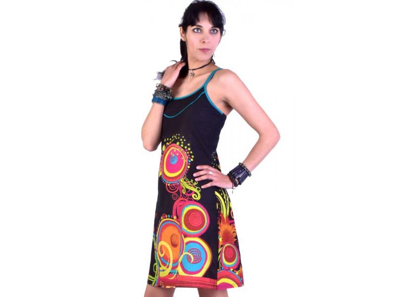 """Černé šaty bez rukávu """"Mavea"""" s barevným potiskem"""