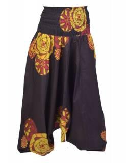 """Černé turecké kalhoty-overal-halena 3v1 """"Melody"""", barevný potisk , žabičkování"""