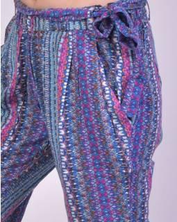 """Pohodlné dlouhé kalhoty s potiskem """"Ally"""", modro-růžové, zavazovací pásek"""