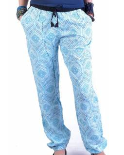 """Pohodlné dlouhé kalhoty s potiskem """"Lexy"""", světle tyrkysové, elast.pas, kapsy"""