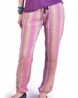 """Pohodlné dlouhé kalhoty s potiskem """"Lexy"""", multibarevné, elast.pas, kapsy"""