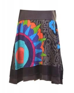 """Krátká šedo-černá sukně """"Patty"""" s barevným potiskem, pružný pas"""