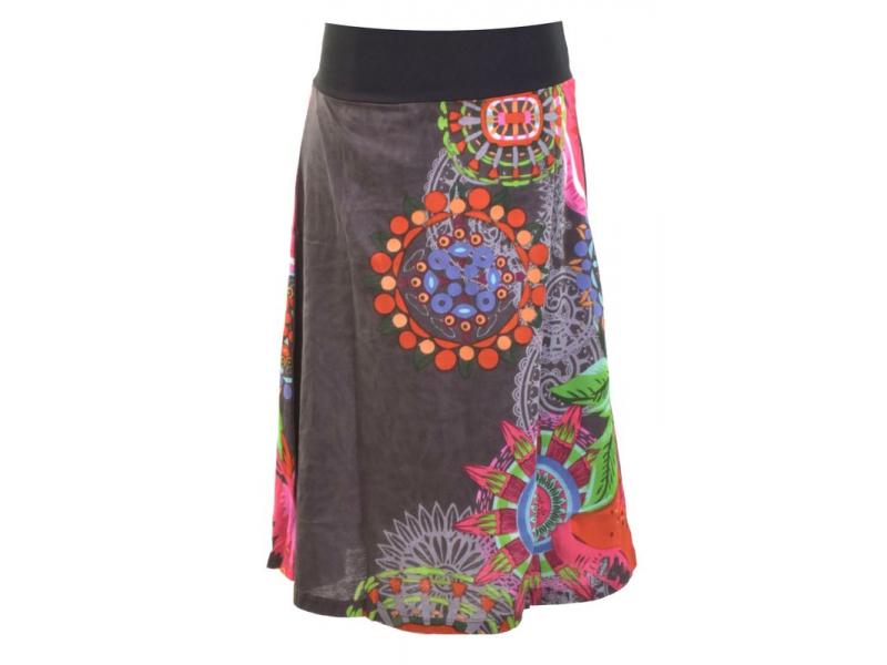 """Šedá sukně ke kolenům """"New Jamy"""" s barevným potiskem, pružný pas"""