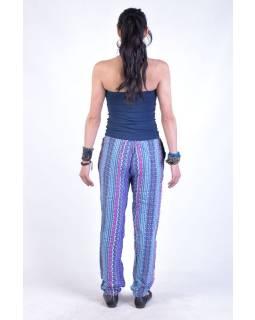 """Pohodlné dlouhé kalhoty s potiskem """"Lexy"""", modro-růžové, elast.pas, kapsy"""