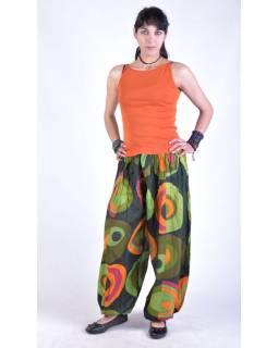 """Oranžovo-zeleno-žluté balonové kalhoty """"Disco design"""", elastický pas"""