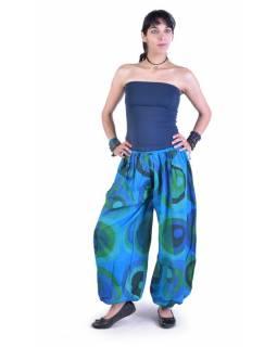 """Dlouhé tyrkysové balonové kalhoty """"Disco design"""", elastický pas"""