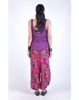"""Růžové balonové kalhoty s potiskem, """"Patchwork design"""", elastický pas"""