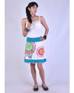 "Krátká bílá sukně ""Rosy"" s barevnými mandalami"