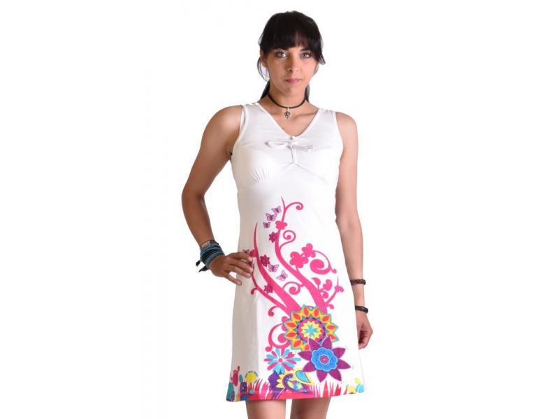 """Bílé šaty bez rukávu """"Elena"""", barevný potisk"""