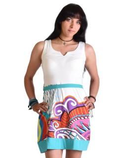 """Bílé šaty bez rukávu """"Jenna """" s barevným potiskem, pásek"""