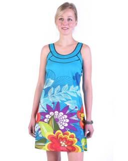 """Tyrkysové šaty bez rukávu """"Lisa"""" s barevným potiskem květin"""